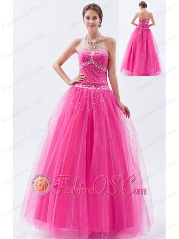 Hot Pink A-line / Princess Sweetheart Prom Dress Tulle Beading Floor ...
