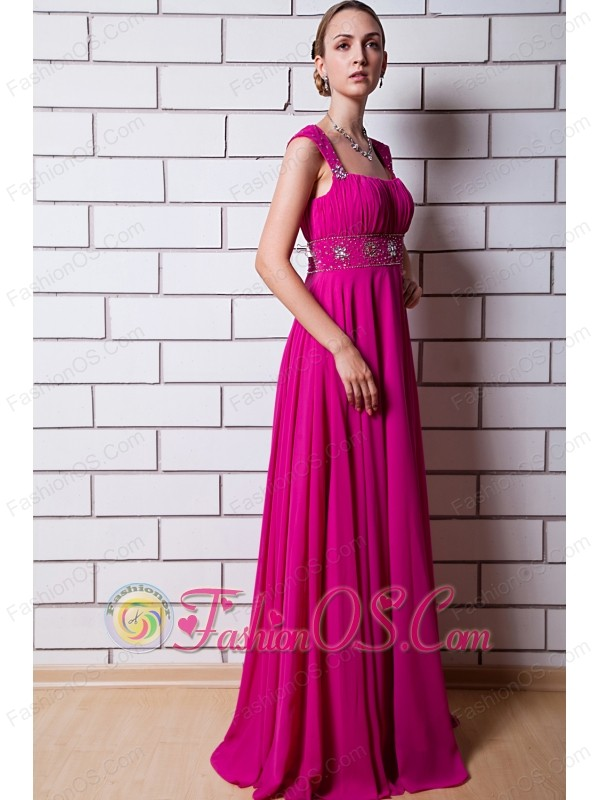 Hot Pink Empire Straps Prom Dress Chiffon Beading Floor-length ...