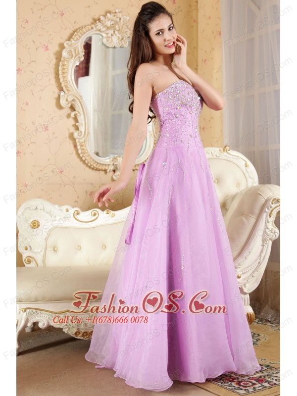 Lavender A-line Sweetheart Prom / Evening Dress Organza Beading Floor-length