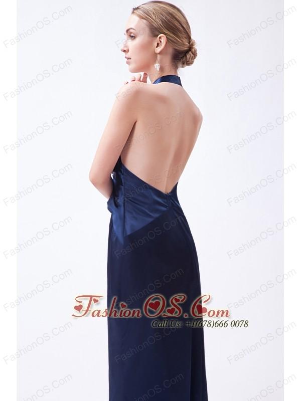 Navy Blue Column Halter Prom Dress Taffeta Beading Floor-length