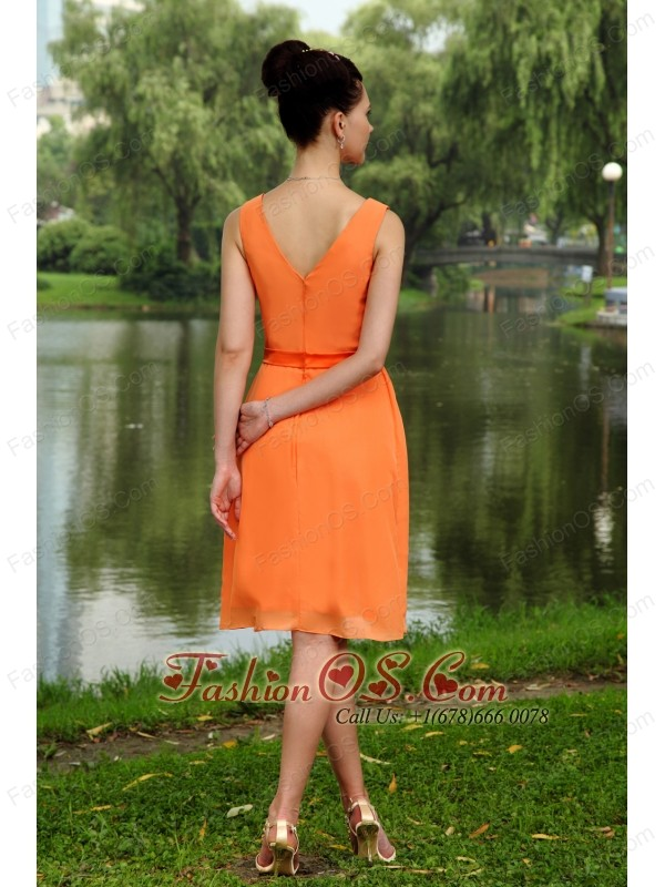 Orange Empire V-neck Knee-length Chiffon Ruch Bridesmaid Dress