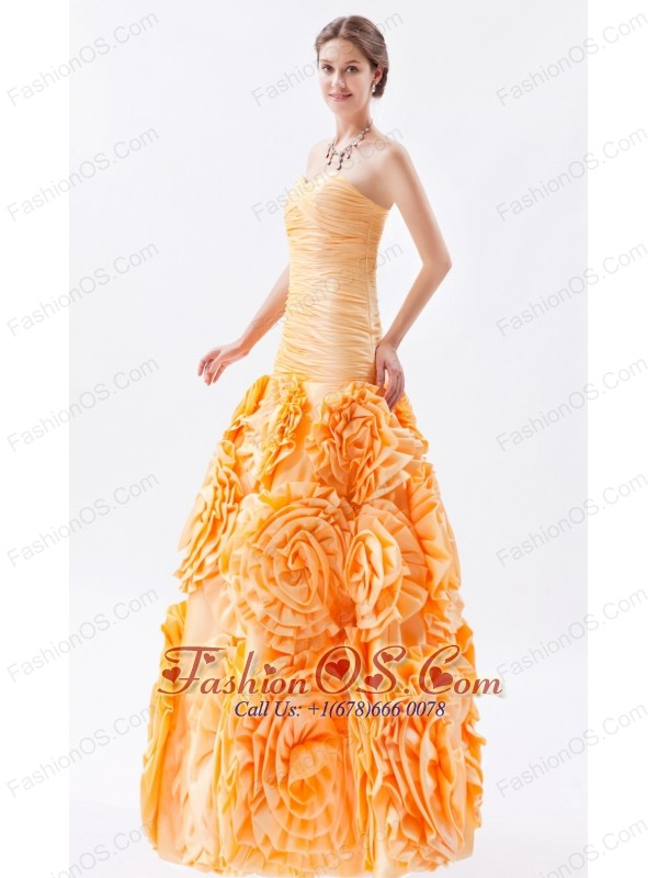 Orange Mermaid Sweetheart Ruch Prom Dress Floor-length Fabric With Rolling Flower