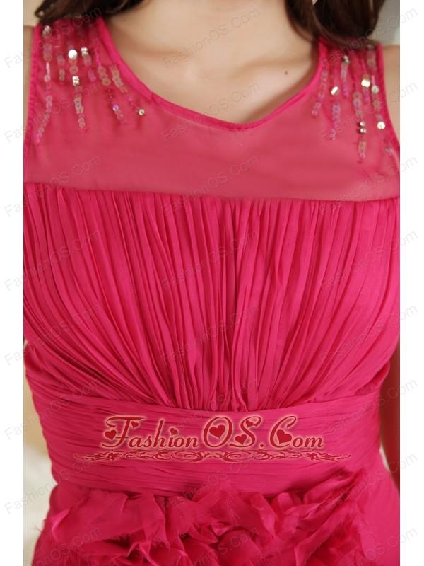 Hot Pink Column Scoop Prom Dress Chiffon Ruch Mini-length