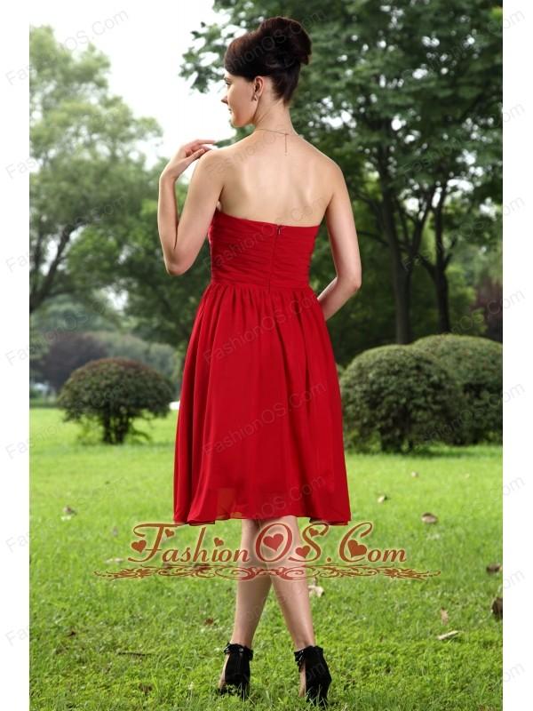 Red Empire Sweetheart Knee-length Chiffon Ruch Bridesmaid Dress