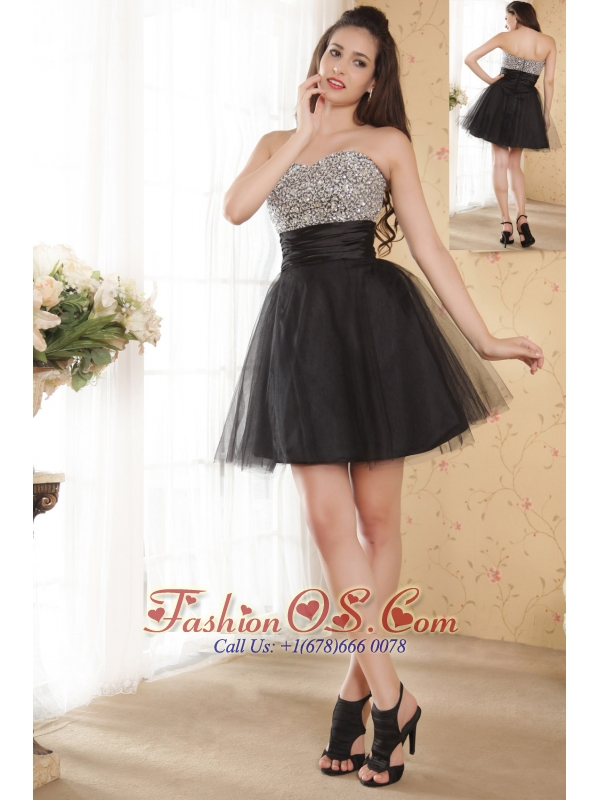Black A-line Sweetheart Prom / Homecoming Dress Beading Mini-length Tulle