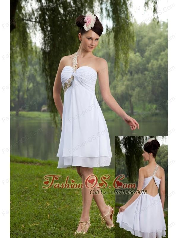 White Empire One Shoulder Prom / Homecoming Dress Beading Knee-length Chiffon