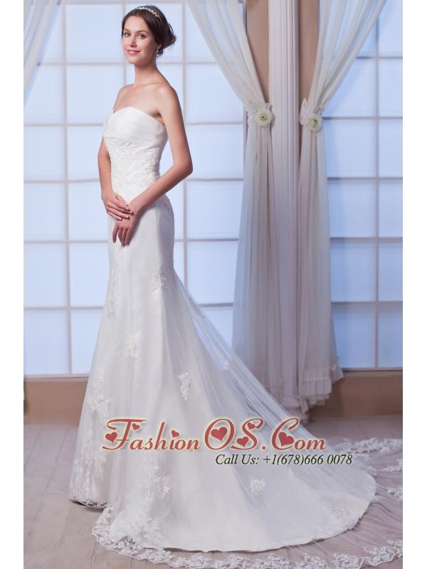 Brand New Mermaid Strapless Court Train Lace Beading Wedding Dress