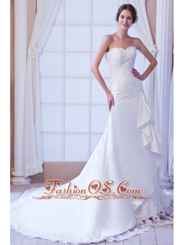 Exclusive Mermaid Strapless Court Train Satin Lace Wedding Dress