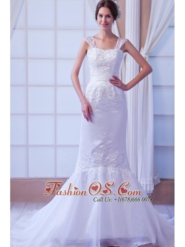 Exquisite Mermaid Straps Court Train Organza Appliques Wedding Dress