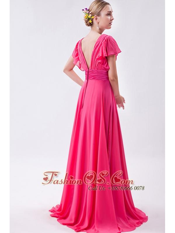 Hot Pink Empire V-neck Prom Dress Chiffon Ruch Brush Train