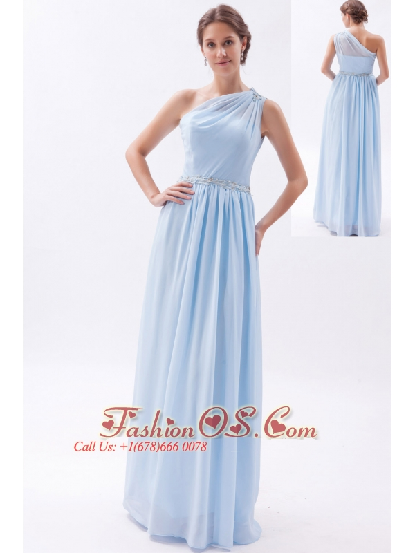 Light Blue Empire One Shoulder Prom Dress Chiffon Beading Floor ...