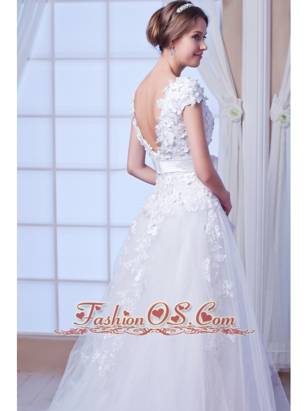 New A-line / Princess Square Chapel Train Tulle Embroidery Wedding Dress