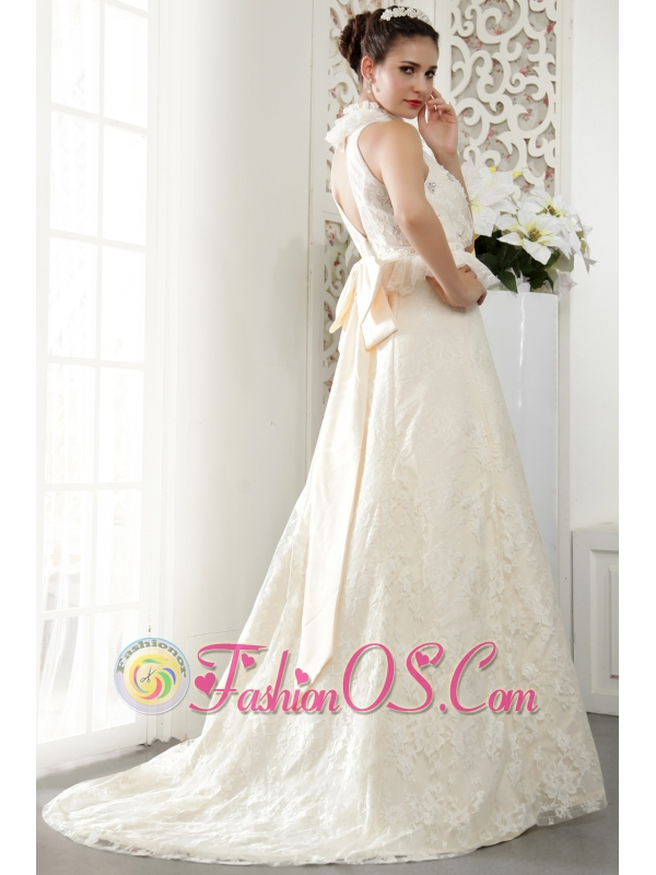 Popular A-line High-neck Brush Train Lace Beading and Ruch Wedding Dress