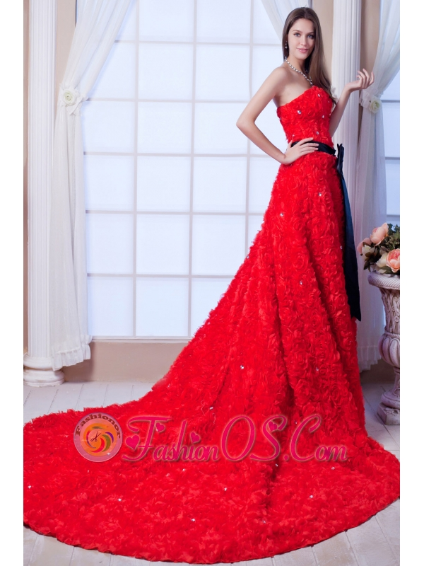 Red A-line Strapless Cathedral Train Special Fabric Beading and Sash Wedding Dress