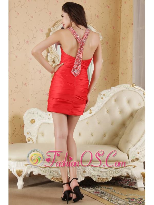Red Column Halter Prom / Homecoming Dress Taffeta Beading Mini-length