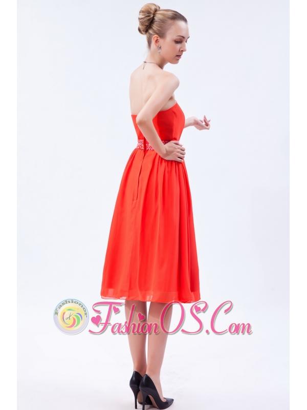 Red Empire Strapless Prom Dress Chiffon Beading Knee-length