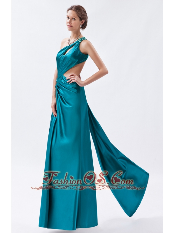 sheath/column one shoulder floor length elastic satin
