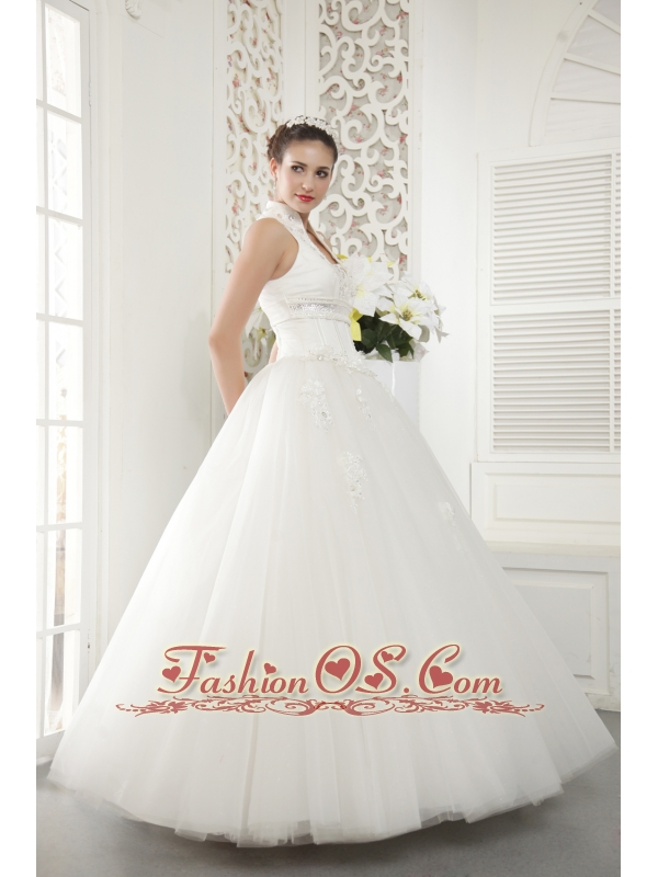 Wonderful A-line / Princess High-neck Floor-length Tulle Beading Wedding Dress