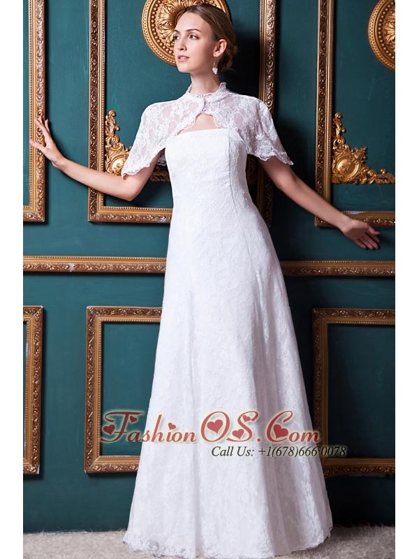 Beauty Column Strapless Floor-length Lace Wedding Dress