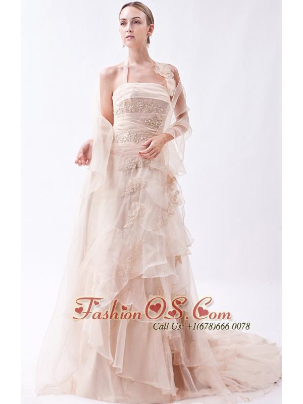 Champagne Column Halter Court Train Organza  Appliques Wedding Dress