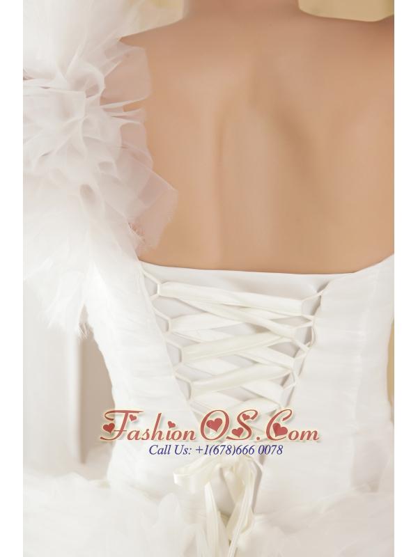 Fashionbale A-line One Shoulder Chapel Train Taffeta and Tulle Beading Wedding Dress