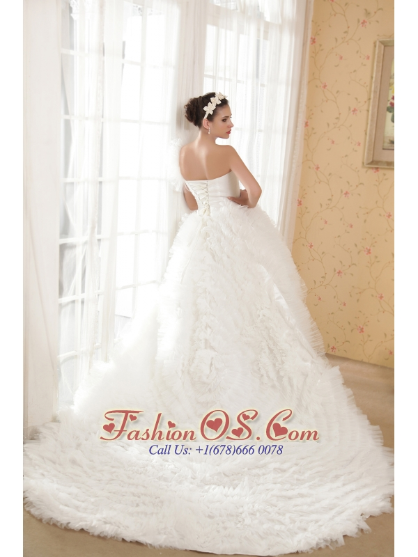 Fashionbale A-line One Shoulder Chapel Train Taffeta and Tulle Beading Wedding Dress