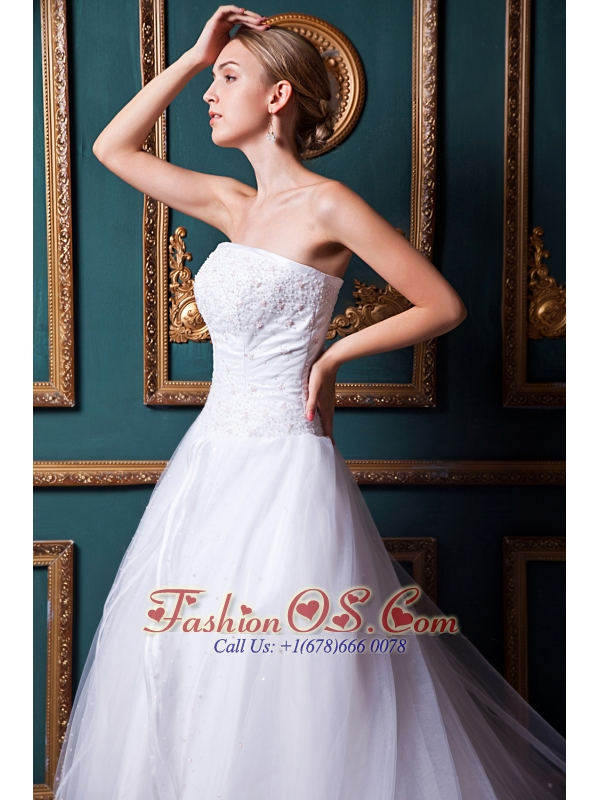 Lovely A-line Strapless Chapel Train Organza Beading Wedding Dress