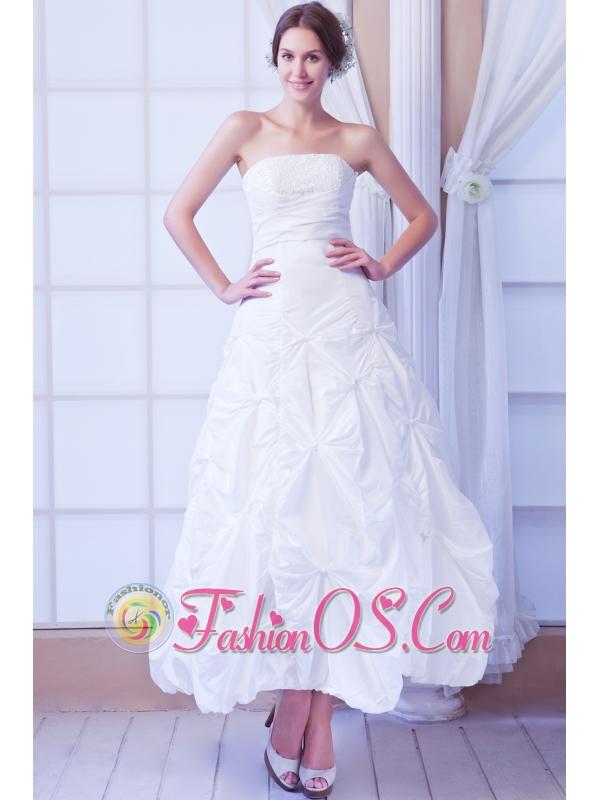 Modest A-line Strapless Ankle-length Taffeta Sequin Wedding Dress