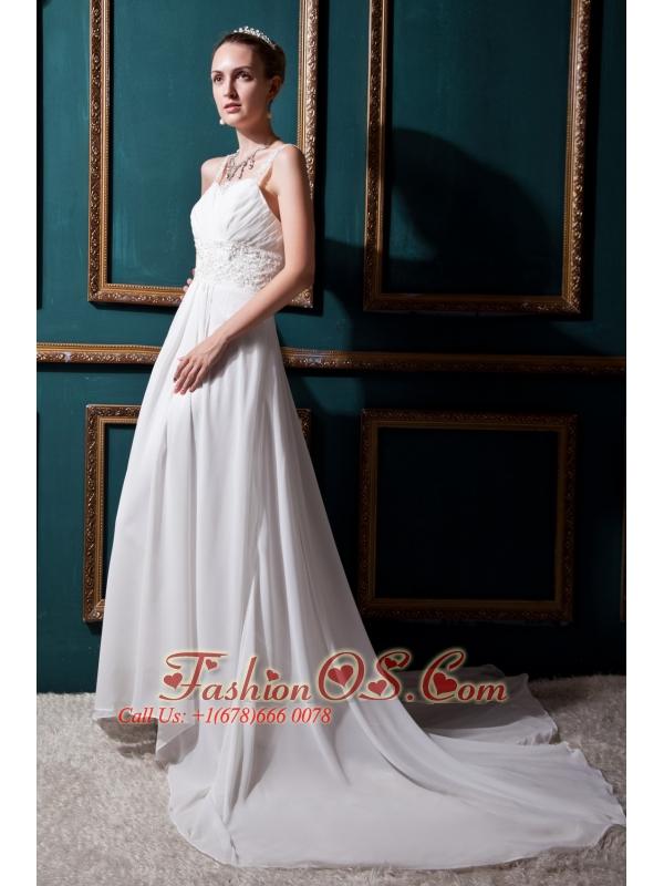 Modest Empire Straps Court Train Chiffon Lace Wedding Dress