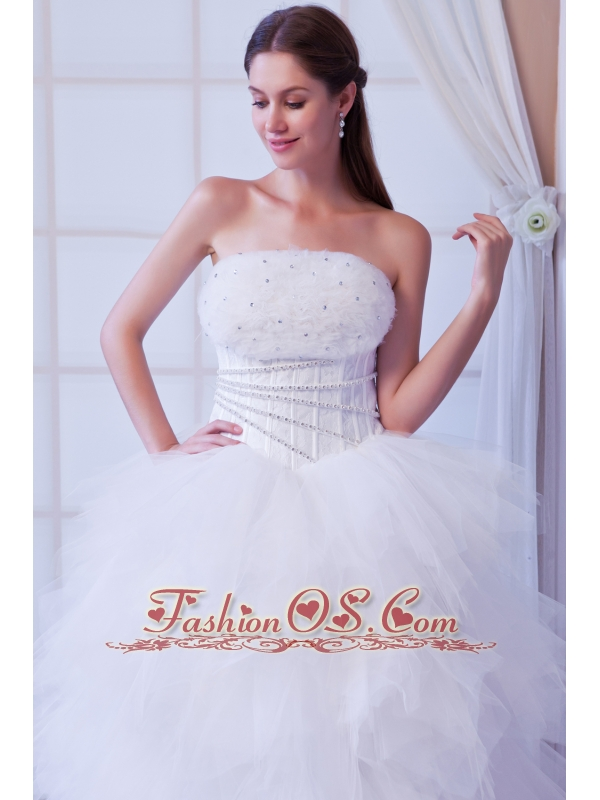 Romantic A-line Strapless Brush Train Tulle Beading Wedding Dress