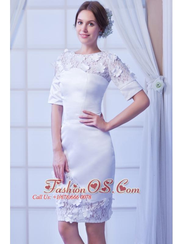 White Column Scoop Knee-length Satin Wedding Dress