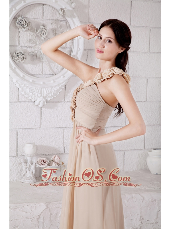 Champagne Empire One Shoulder Hand Made Flowers Bridesmaid Dress Floor-length Chiffon