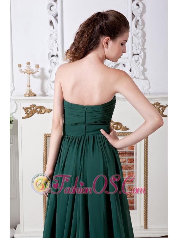 Dark Green Empire Sweetheart Ruch Bridesmaid Dress Brush Train Chiffon