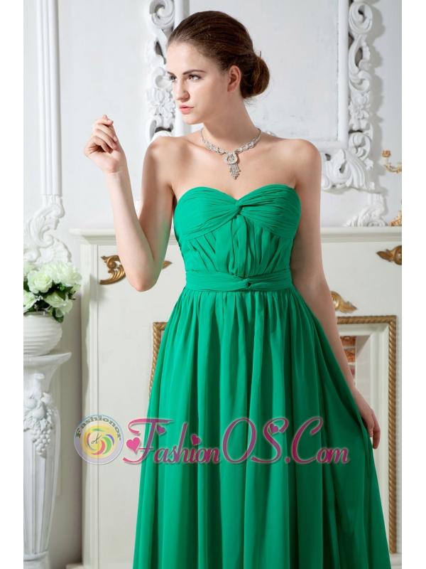 Green Empire Sweetheart Ruch Bridesmaid Dress Floor-length Chiffon