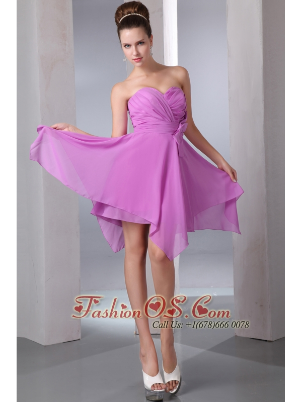 Lavender Empire Sweetheart Cocktail Dress Asymmetrical Chiffon Bow ...