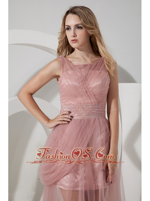 Light Pink Column Straps Celebrity Dress Tulle Beading Brush Train