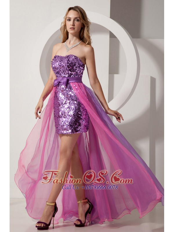 Purple and Pink High-low Evening Dress Column Strapless Sequin and ...