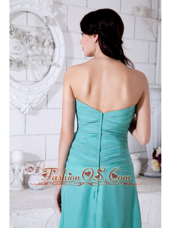 Turquoise Empire Sweetheart Appliques Bridesmaid Dress Ankle-length Chiffon
