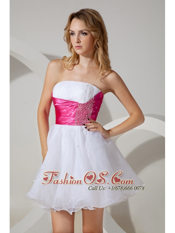 White A-line / Princess Strapless Cocktail Dress Beading Organza Mini-length