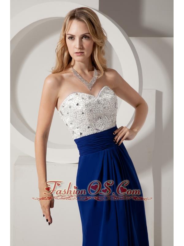 White and Royal Blue Homecoming Dress Column Sweetheart Beading Brush Train Chiffon