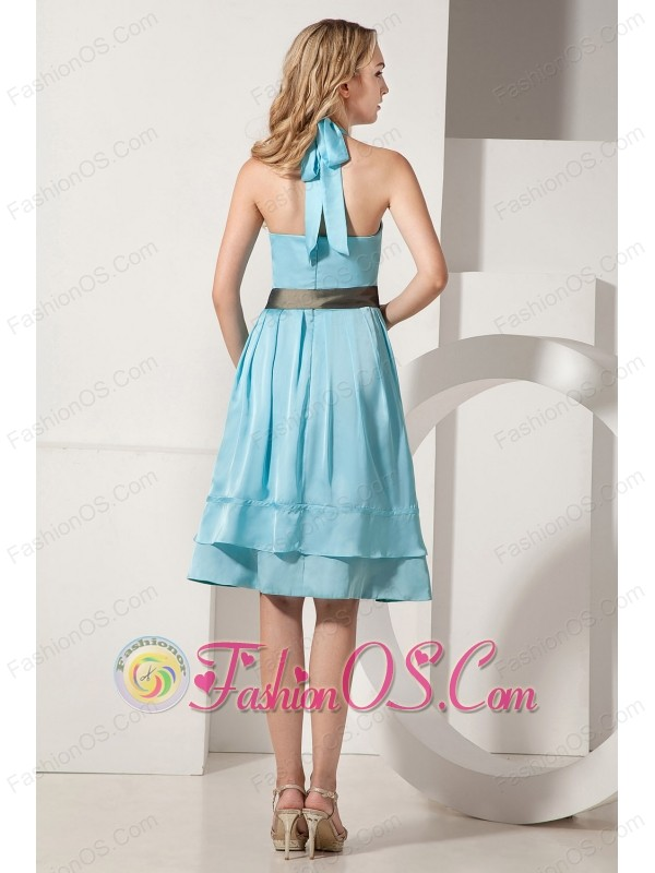 Aqua Blue A-line Halter Knee-length Bridesmaid Dress Taffeta Ruch and Bow