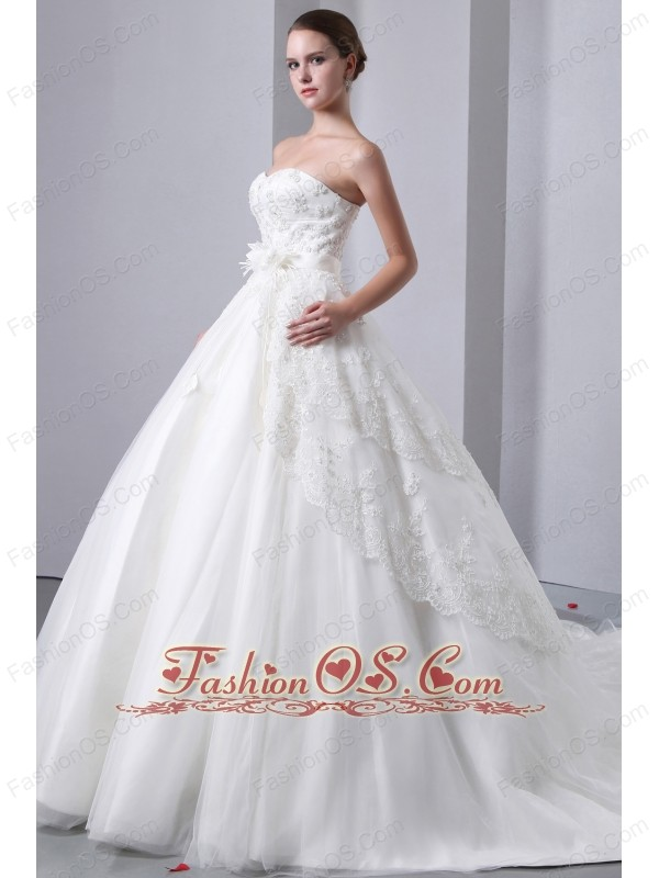 Beautiful A-line Sweetheart Lace Wedding Dress Cathedral Train Tulle and Taffeta