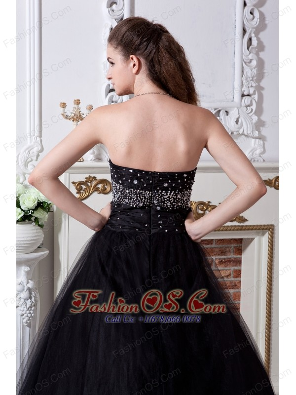 Black Sweet 16 Dress Beading and Hand Made Flowers A-line / Princess Sweetheart Floor-length Organza