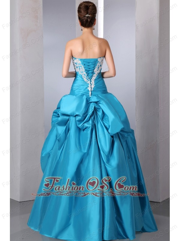 Teal A-line Strapless Beading and Appliques Quinceanera Dress Floor-length Taffeta