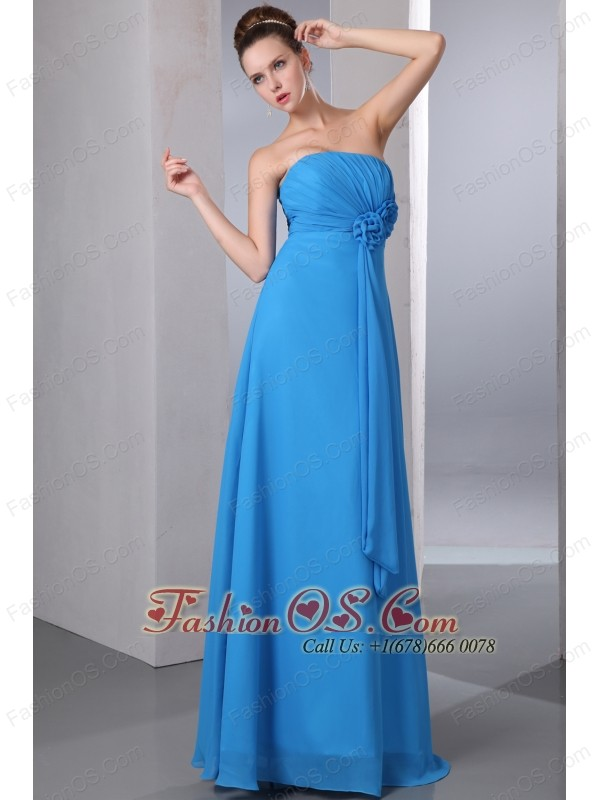 Teal Empire Strapless Hand Made Flower and Ruch Bridesmaid Dress Floor-length Chiffon
