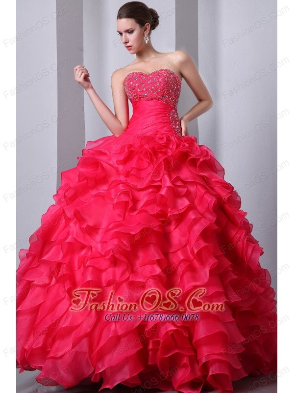 Hot Pink A-Line / Princess Sweetheart Beading and Ruffles Quinceanea Dress Floor-length Organza