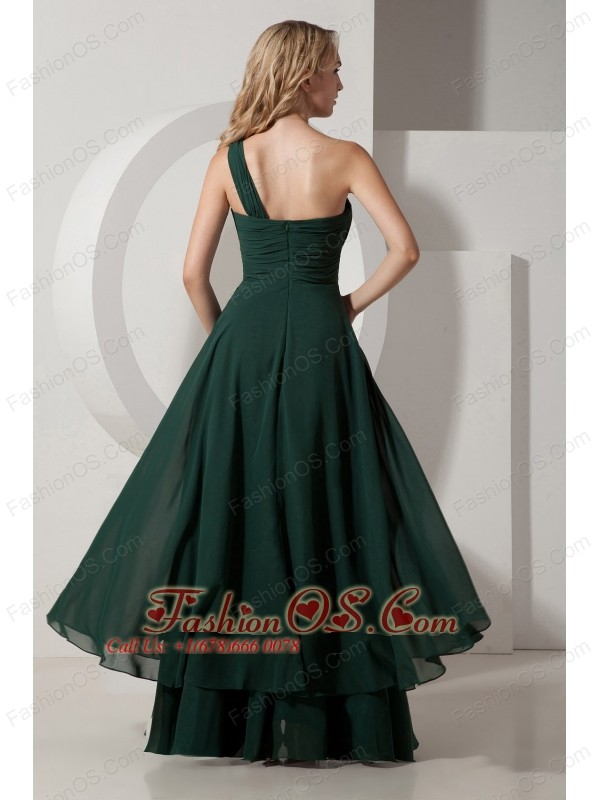 Dark Green A-line One Shoulder Bridesmaid Dress Chiffon Ruch Floor-length