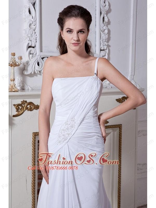 Elegant A-line / Princess One Shoulder Beach Wedding Dress Court Train Chiffon Beading and Ruch