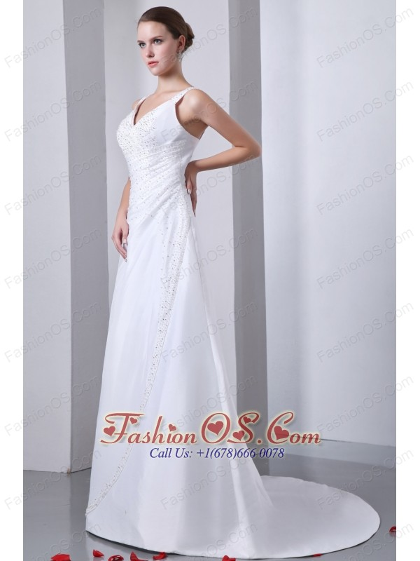 Elegant A-line Straps Wedding Dress Ruch and Beading Court Train Satin