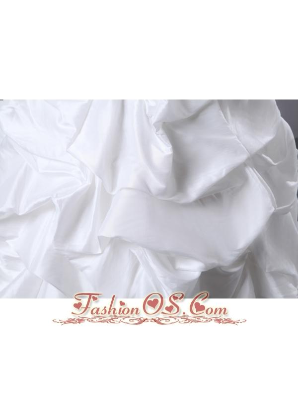 Elegant A-line V-neck Ruch and Appliques Pick-ups Wedding Dress Floor-length Taffeta